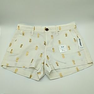 Old Navy womens shorts 0 Gold pineapples NEW!